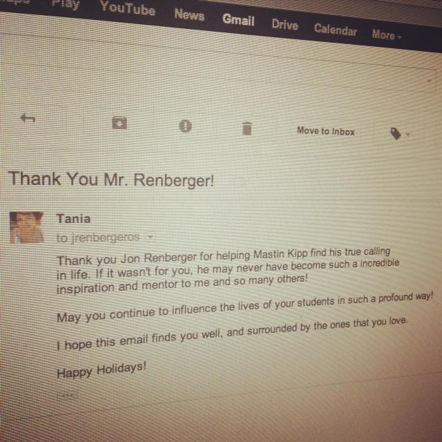 Dec 1: Thank You Mr. Renberger!
